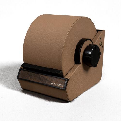 """Vintage Rolodex Industrial Beige Metal Model 2254D 4"""" Address Cards"""