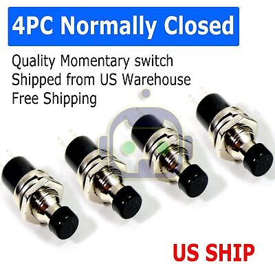 4 Pack Spst Normally Closed Momentary Push Button Switch Black  25020 Sw
