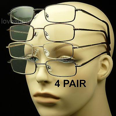 4 PAIR READING GLASSES LENS SPRING HINGE PACK LOT METAL POWER MEN WOMEN UNISEX