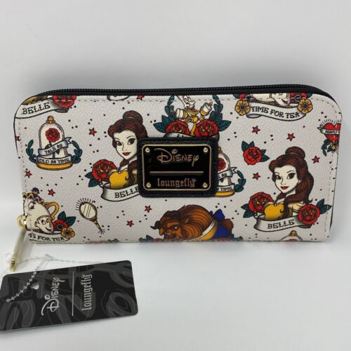 NWT Loungefly X Disney Beauty and the Beast BELLE Tattoo Print Zip-Around Wallet