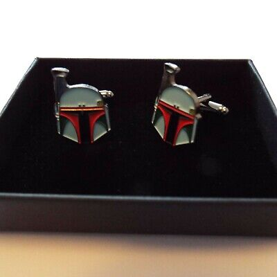 Pair of Stylish Star Wars Boba Fett Cufflinks in gift box
