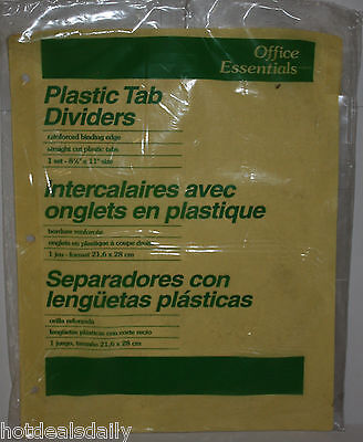 8 Tab Plastic Slip In Clear Tab Dividers Reinforced Avery 11468