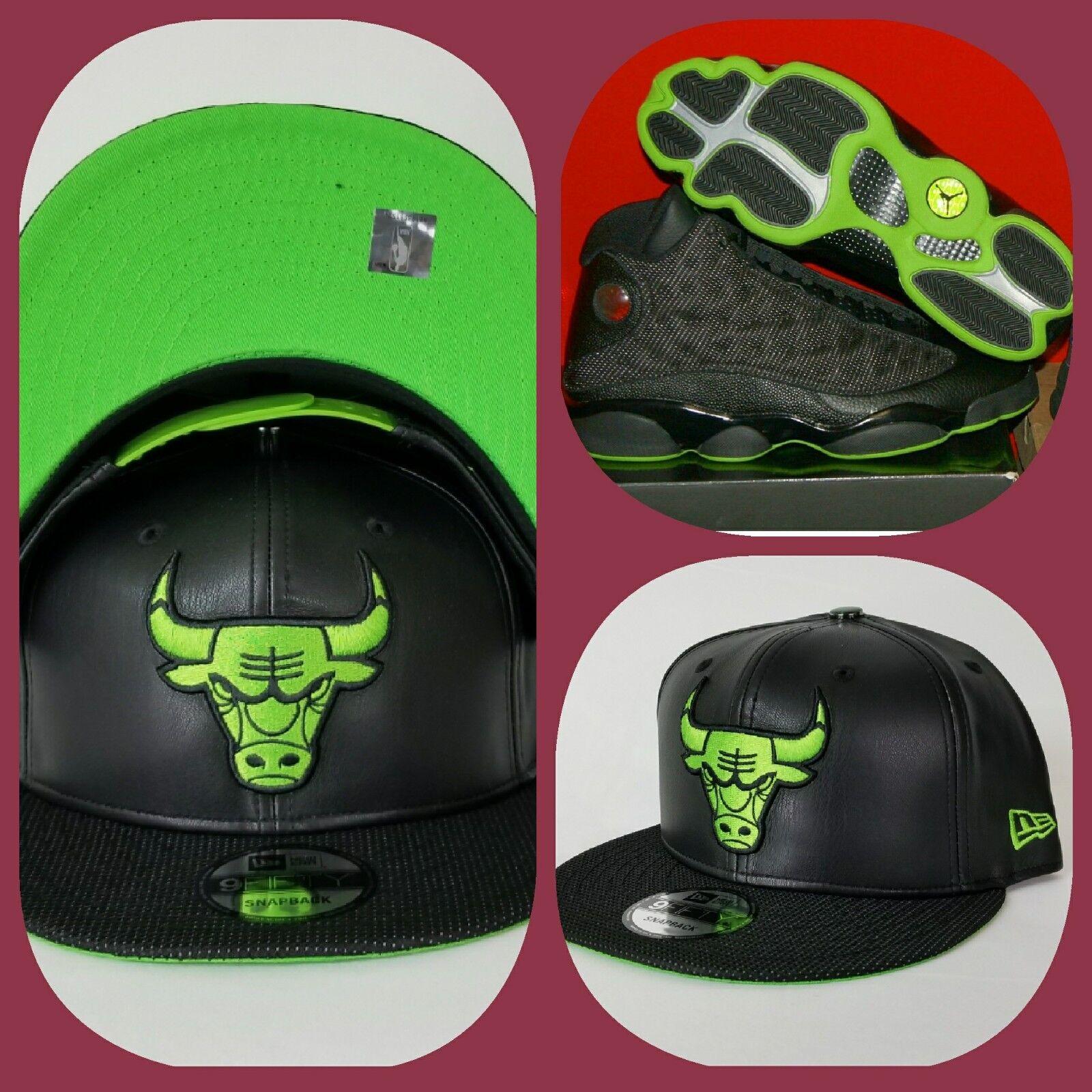 Details about New Era Chicago Bulls Black Faux Leather snapback hat Jordan  13 Altitude Green 512e90cdd2d