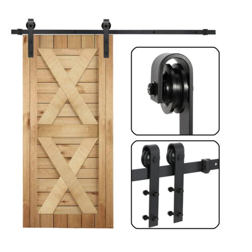 Sliding Barn Door Hardware Kit 6.6FT Modern Closet Hang Style Track Rail Black