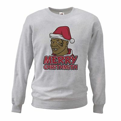 Adults Unisex Mike Tyson funny Christmas Chrithmith Sweatshirt Grey Novelty