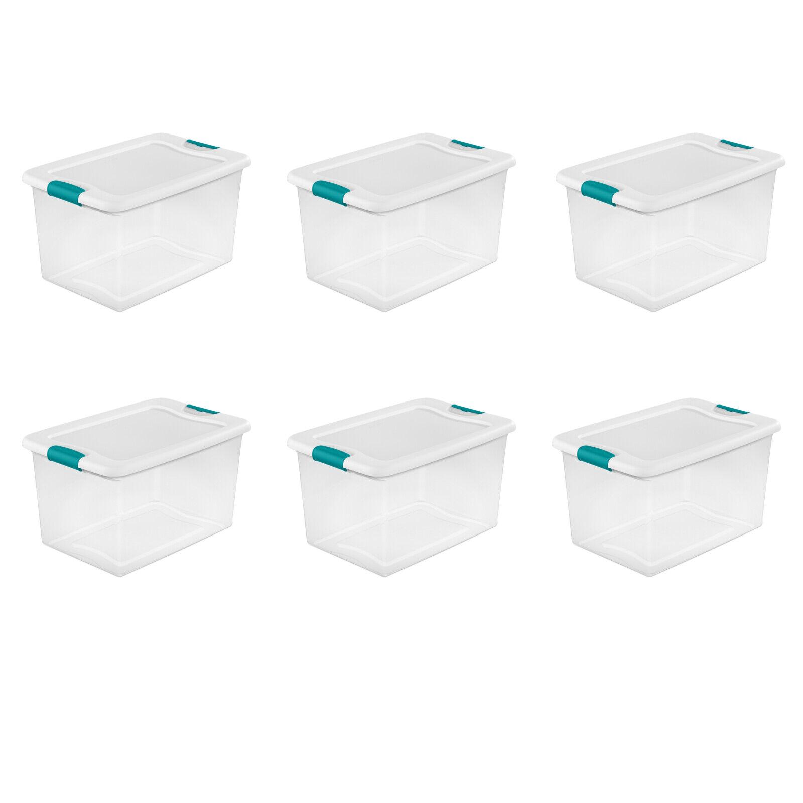 6 Pack Sterilite 64 Quart Latching Box Container Storage Lat