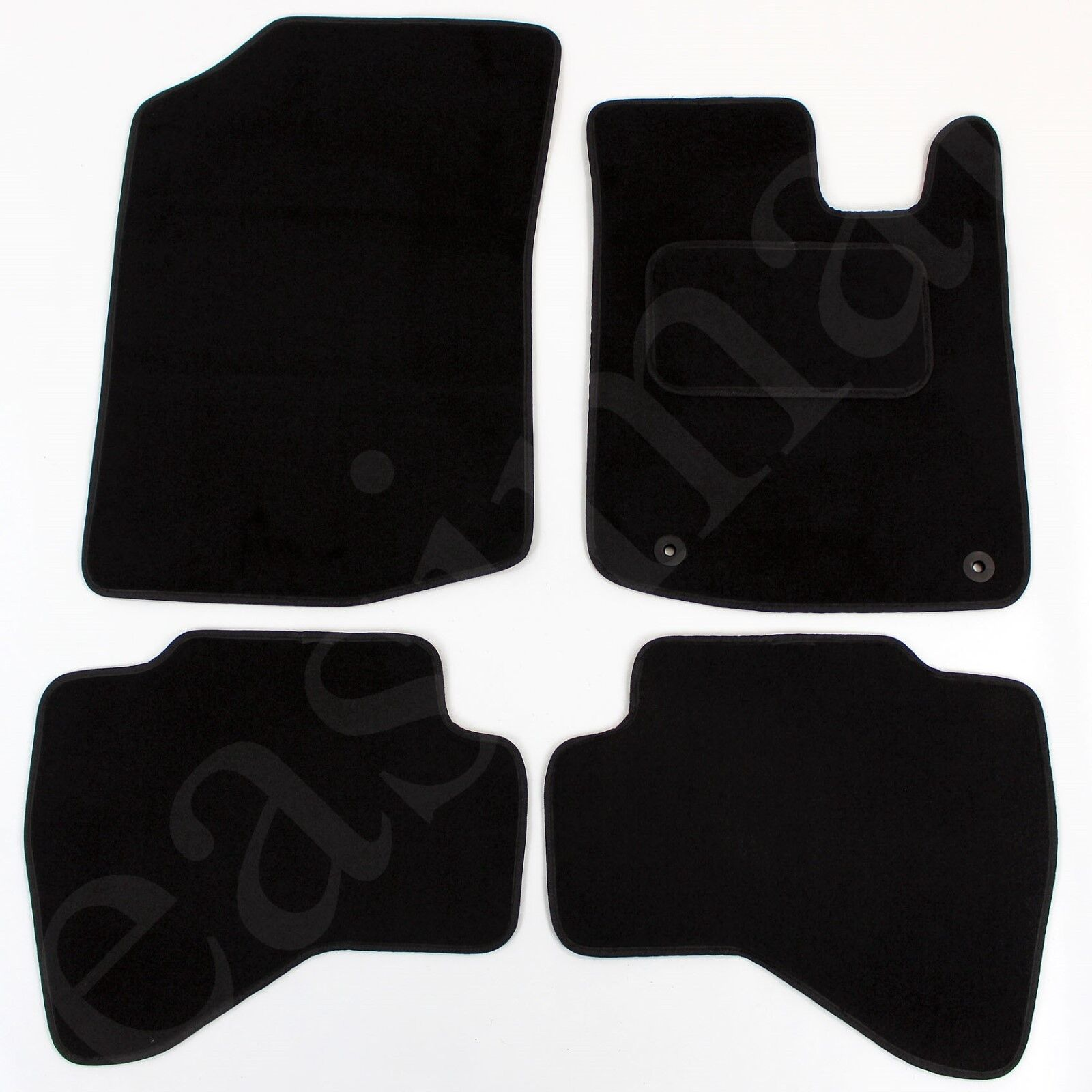 Car Parts - Toyota Aygo 2005-2014 Tailored Carpet Car Mats Black 4pc Floor set 2 clips