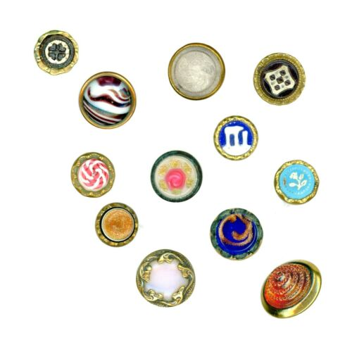 Buttons--12 Mid-19th C. Waistcoat Jewels--One Golden Age Clear