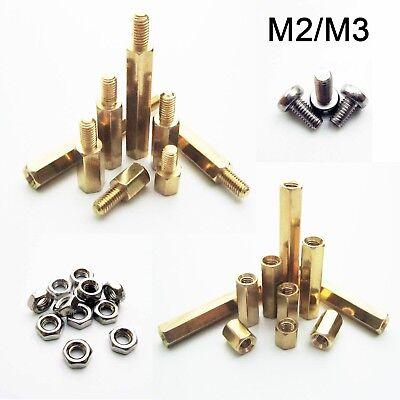 5/100pcs Brass Copper M2 M3 Hex Column Standoff Support Spacer Pillar PCB Board
