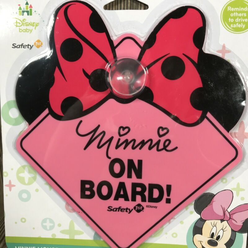 Disney Minnie Mouse Baby on Board Sign w/ Suction Cup By Safety 1st Pink w/bow