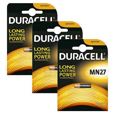 3 x Duracell MN27 A27 V27A 8LR732 G27A Car Alarm 12V Alkaline Batteries EXP:2023 Batterien 27a 12v Alarm