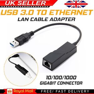 USB 3.0 to ETHERNET LAN Internet Cable Adapter Gigabit Connector 10/100/1000 Hub