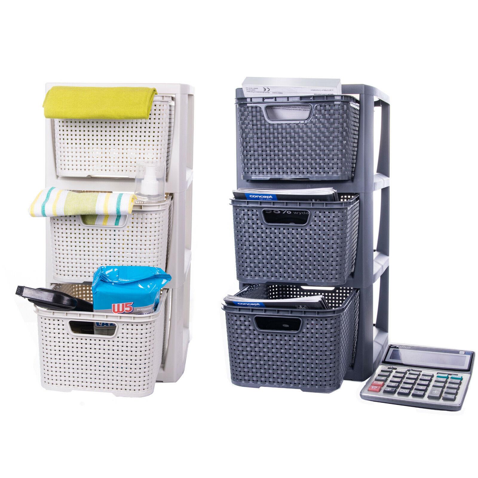 Korbregal mit 3 Schubladen aus Kunststoff Plastik Ordnungsbox Rattan Korbkommode