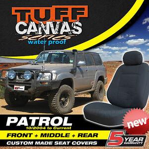 TUFF CANVAS Nissan Patrol Custom Made Seat Covers GU-IV, GU-V F+M+R 3 ROWS Y61