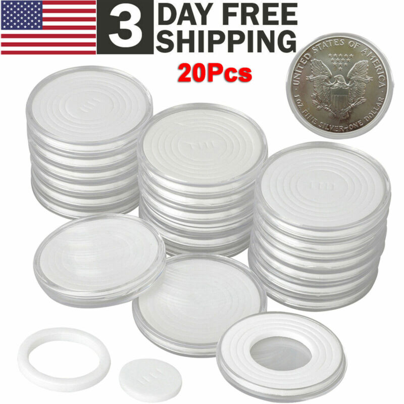 20Pcs Coin Storage Box Round Clear Plastic Case Capsules Container Holder 46mm