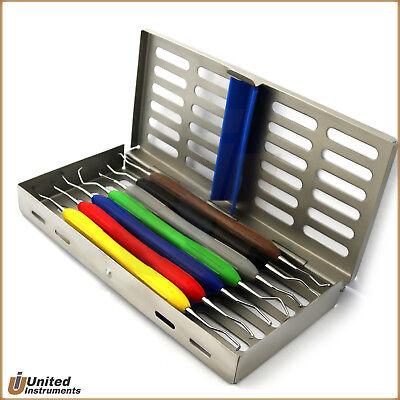 Periodontal Gracey Curettes Color Handle Dental Instruments Set Of 7 Cassette Ce