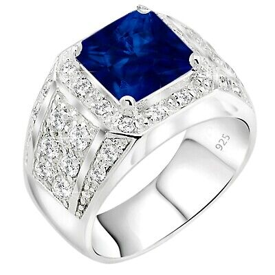 Large Rhodium Plated Sterling Silver Ring for Men - Synthetic Blue Sapphire & CZ