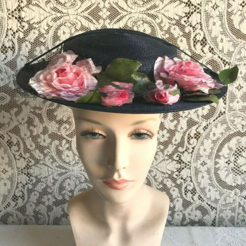 Vintage 1940s 1950s Blue Straw Hat with Pink Flowers
