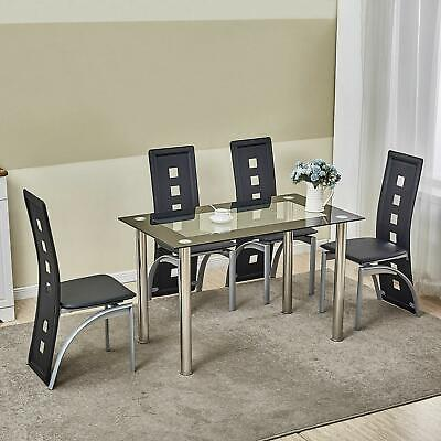 5 Piece Glass Dining Table Set 4 Chairs Room Kitchen Breakfast Furniture 5 Piece Dining Room Set
