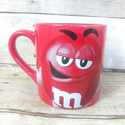 M&M World Licensed Large Coffee Mug Cup Red Black Inside Frankford Candy - Black M&m Candy