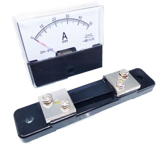 US Stock Analog Panel AMP Current Ammeter Meter Gauge DH-670 0-50A DC & Shunt