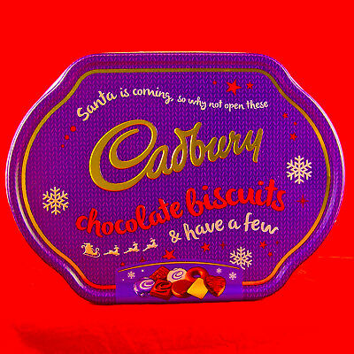 """Cadbury Tin Xmas Holiday Empty Biscuits Container Can Box Embossed 11.5""""x8.5""""x2"""""""