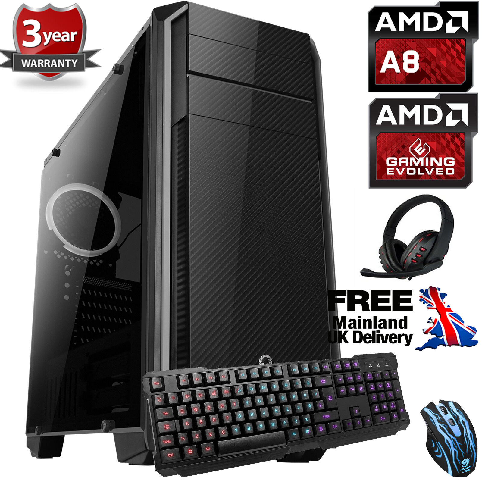 Computer Games - OCHW Ultra Fast AMD Quad Core Bundle8 8GB 1TB Gaming PC Computer Windows 10 CA