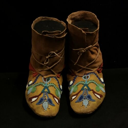 Antique Santee Sioux Female Beaded Mocassins - Native American
