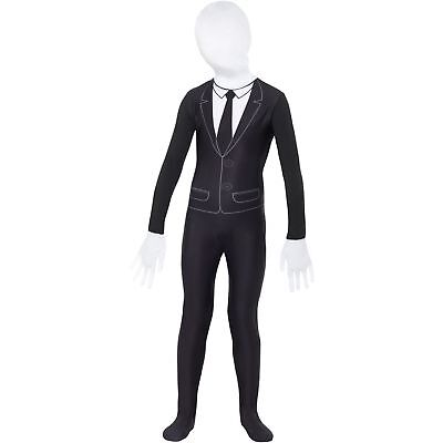 Supernatural Boy Bodysuit Slender Man 2nd Skin Childs Kids Fancy Dress Costume