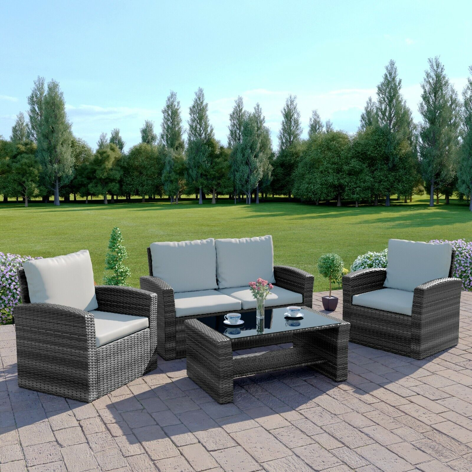Garden Furniture - Rattan Garden Sofa Furniture Set Patio Conservatory 4 Seater Armchairs Table