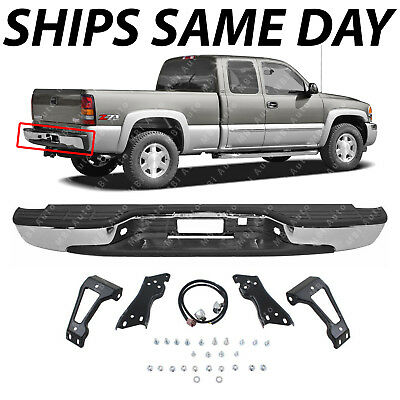 NEW Complete - Chrome Rear Bumper For 1999-2006 Chevy Silverado GMC Sierra 1500 ()