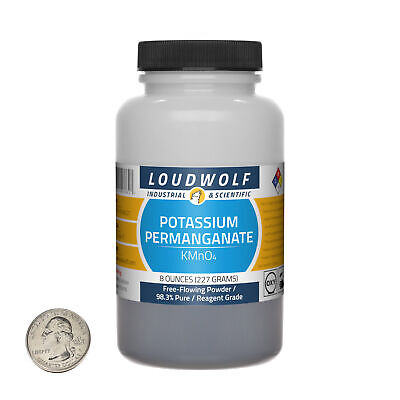 Potassium Permanganate 8 Oz Bottle 98.3 Reagent Grade Free-flowing Powder