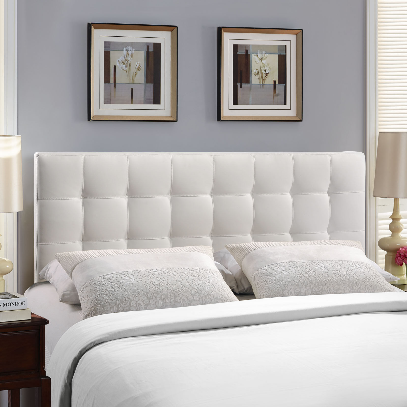 Tufted Upholstered Faux Leather Square King Size Headboard In White 848387019334 Ebay