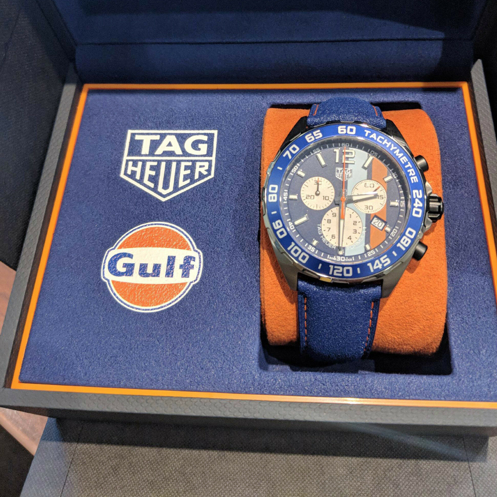 TAG Heuer Formula 1 Gulf Special Edition Chrono Watch 43mm CAZ101NFC8243 NEW