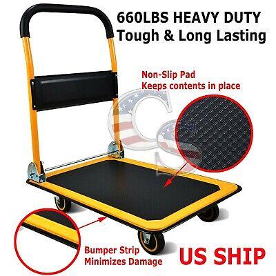 660 Lbs Platform Cart Dolly Folding Foldable Moving Warehouse Push Hand Truck
