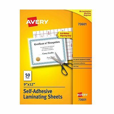 Avery Self-adhesive Laminating Sheets 9 X 12 Permanent Adhesive 50 Clear...