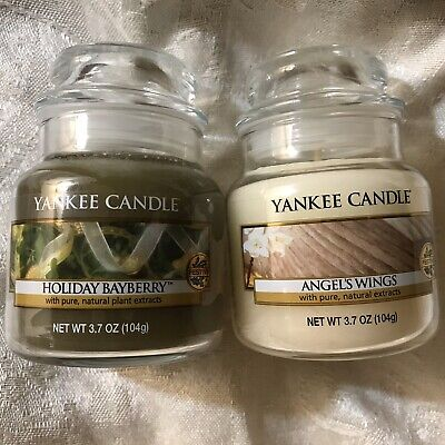 Lot Of 2 Yankee Candles 3.7 oz Angels Wings (retired) Holiday Bayberry Small Jar