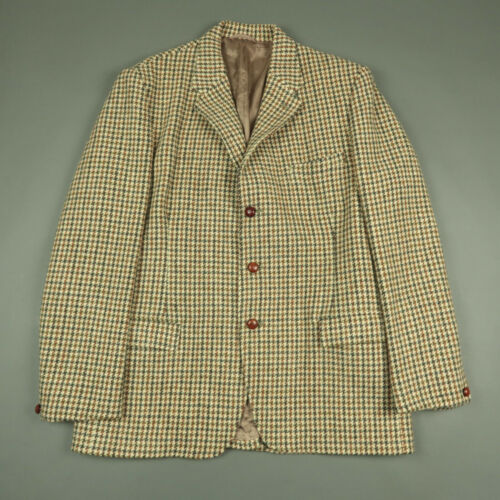 Dunn & Co Harris Tweed Houndstooth Hacking Jacket Size 44R