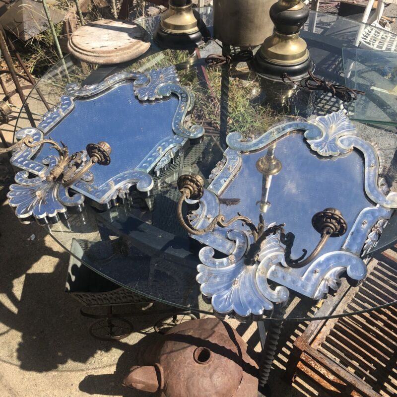 Pair Of Large Antique Venitian Glass Wall Sconces