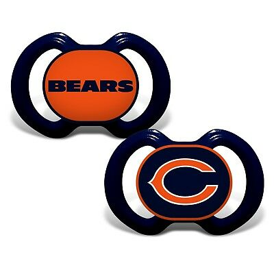 Chicago Bears Pacifiers 2 Pack Set Infant Baby Fanatic BPA Free NFL NWT Football