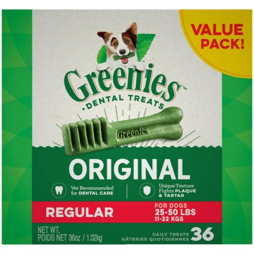 Greenies Original Regular Natural Dental Dog Treats 36 oz 36 treats NEW !!!
