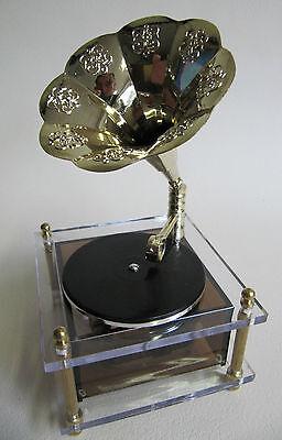 süße Spieluhr, Spieldose: Grammophon transparent, Melodie Entertainer, NEU