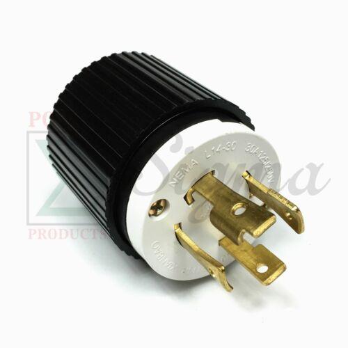 NEMA L14-30P UL Listed Male Locking Generator Plug 30A 125/250V 3 Pole 4 Wires