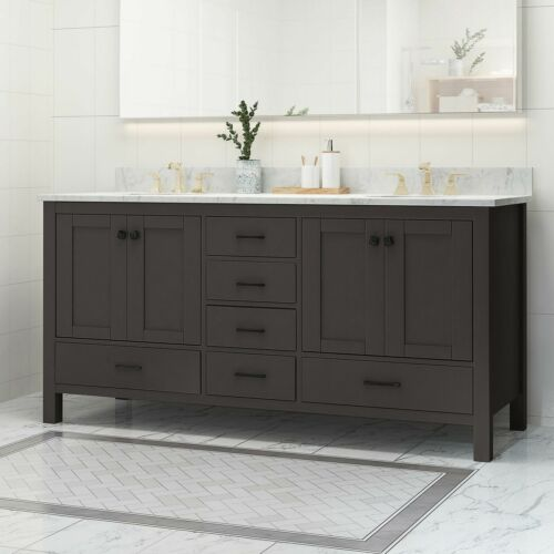Laranne Contemporary 72″ Wood Double Sink Bathroom Vanity with Marble Counter To Bath