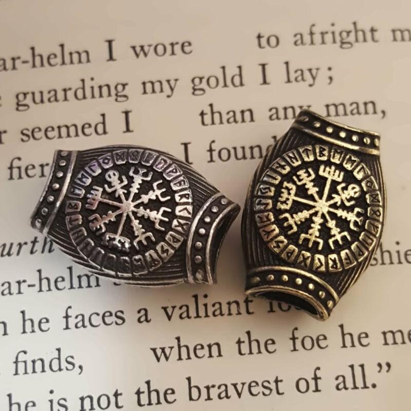 Viking Norse Celtic Knot Beard Hair Jewelry Bead Vegvisir Rune
