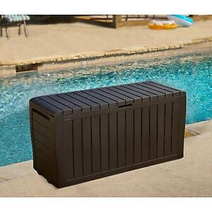 Patio Storage Box Outdoor Deck Yard Bench Garden Porch Pool Lockable 71  Gallon