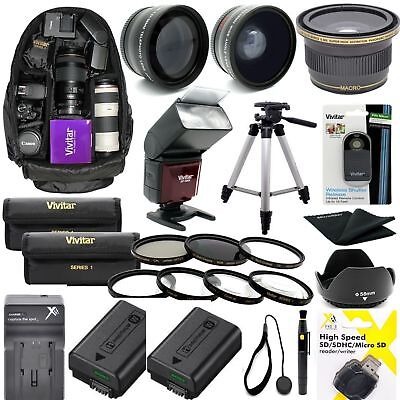 SONY ALPHA A6000 COMPLETE HD 40.5MM ACCESSORIES KIT LENSES TRIPOD BACKPACK FLASH