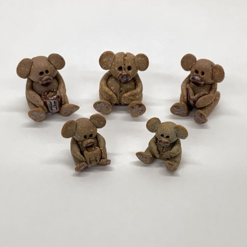 5 Dollhouse Miniature Shadowbox Size Artist Clay Koala Bear Figurines
