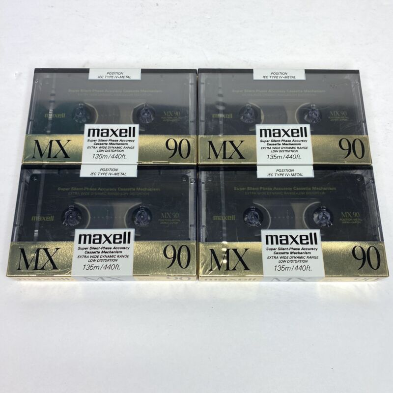 Lot of 4 New Sealed Maxell MX 90 Metal Type IV Cassettes Tapes Made In Japan