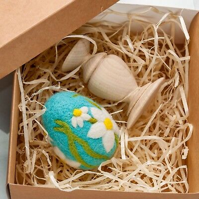 Easter Egg Blue Ornament Easter Holiday Home Decor Natural Eco Gift Egg - Eco Halloween Decorations